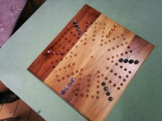 The new marbles on the 6-player board Dad made.